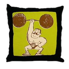 Strongman Lifting Barbell Throw Pillow