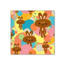 "Rabbits, circles and stars Square Sticker 3"" x 3"""
