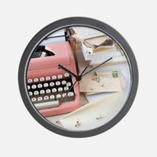 Letters by antique typewriter Wall Clock