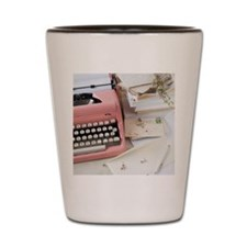 Letters by antique typewriter Shot Glass