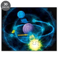 Illustration of how atoms emit light, based Puzzle
