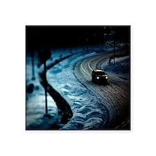 """spooky dark SUV winter scen Square Sticker 3"""" x 3"""""""