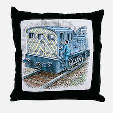 Illustration of train engineer moving Throw Pillow
