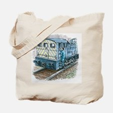 Illustration of train engineer moving up  Tote Bag