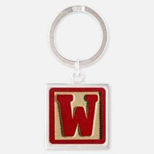 Letter W Square Keychain
