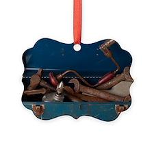 Rusty tool in blue metal box L1 Ornament