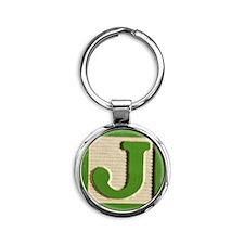 Letter J Round Keychain