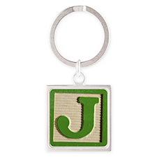 Letter J Square Keychain