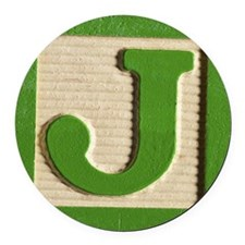 Letter J Round Car Magnet