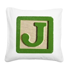 Letter J Square Canvas Pillow