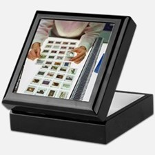 Photo editor choosing slide photograp Keepsake Box