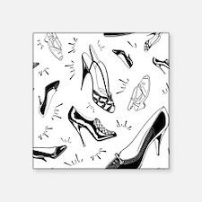 "Ladies Shoe Pattern Square Sticker 3"" x 3"""