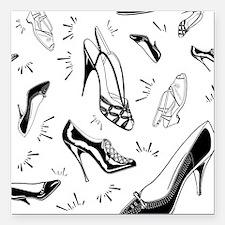 "Ladies Shoe Pattern Square Car Magnet 3"" x 3"""