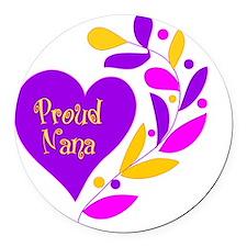 Proud Nana Heart Round Car Magnet