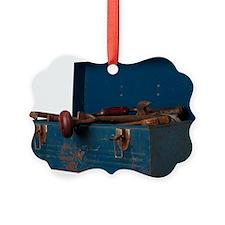 Rusty tool in blue metal box L2 Ornament