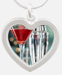 Red Martini Silver Heart Necklace