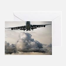 jumbo jet airplane landing in storm Greeting Card