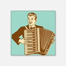 "Man Playing Accordian Square Sticker 3"" x 3"""