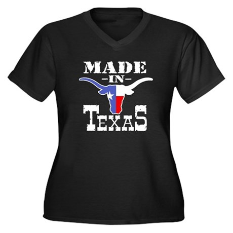 Made In Texas Women's Plus Size V-Neck Dark T-Shir