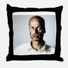 Man's Face Wrapped in Wire String Throw Pillow