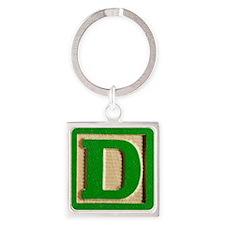 Letter D Square Keychain