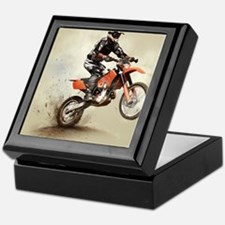 Man on his sport motor Keepsake Box