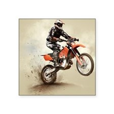 "Man on his sport motor Square Sticker 3"" x 3"""