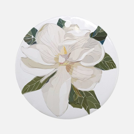 Unique Magnolia Round Ornament