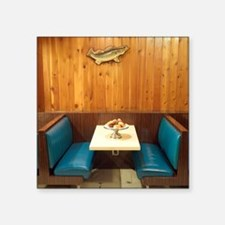 "Booth in Diner Square Sticker 3"" x 3"""