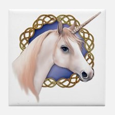 An illustration of a Unicorn with a C Tile Coaster