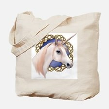 An illustration of a Unicorn with a Celti Tote Bag