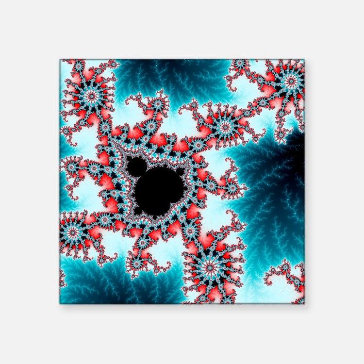 "Mandelbrot fractal. Compute Square Sticker 3"" x 3"""
