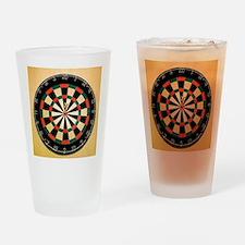 Dart in Bull's Eye on Dart Board Drinking Glass