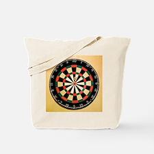 Dart in Bull's Eye on Dart Board Tote Bag
