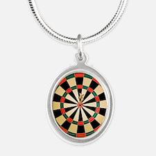Dart in Bull's Eye on Dart Bo Silver Oval Necklace