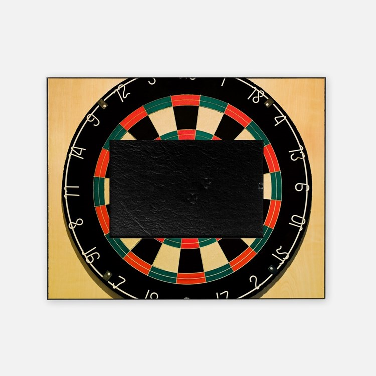 Dart in Bull's Eye on Dart Board Picture Frame