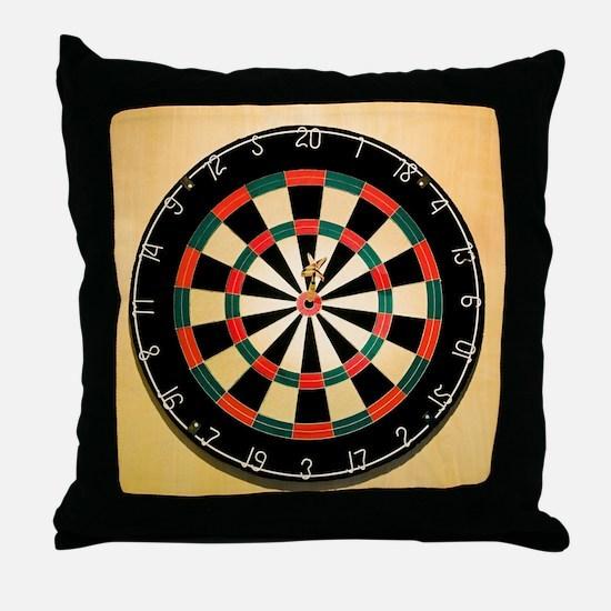 Dart in Bull's Eye on Dart Board Throw Pillow