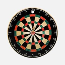 Dart in Bull's Eye on Dart Board Round Ornament