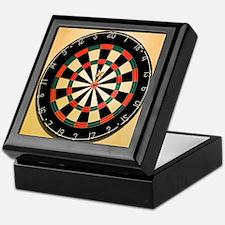 Dart in Bull's Eye on Dart Board Keepsake Box