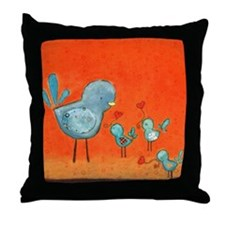 A mother bird loving her young Throw Pillow