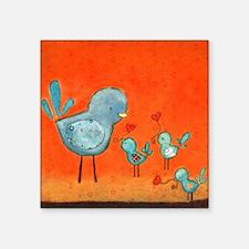 "A mother bird loving her yo Square Sticker 3"" x 3"""