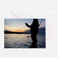 Man duck hunting at dawn Greeting Card