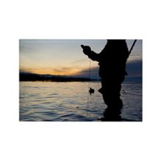 Man duck hunting at dawn Rectangle Magnet
