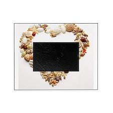Assorted seashells form heart shape, Picture Frame