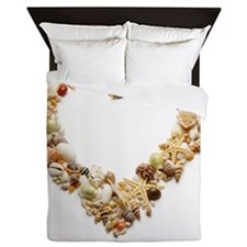 Assorted seashells form heart shape, c Queen Duvet