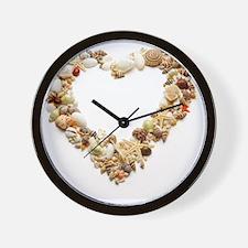 Assorted seashells form heart shape, cl Wall Clock