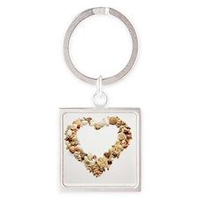 Assorted seashells form heart shap Square Keychain