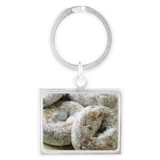 A plate of sugar donuts Landscape Keychain