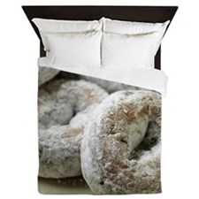 A plate of sugar donuts Queen Duvet