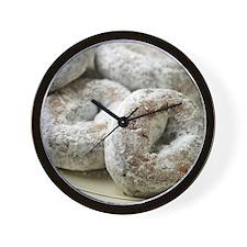 A plate of sugar donuts Wall Clock